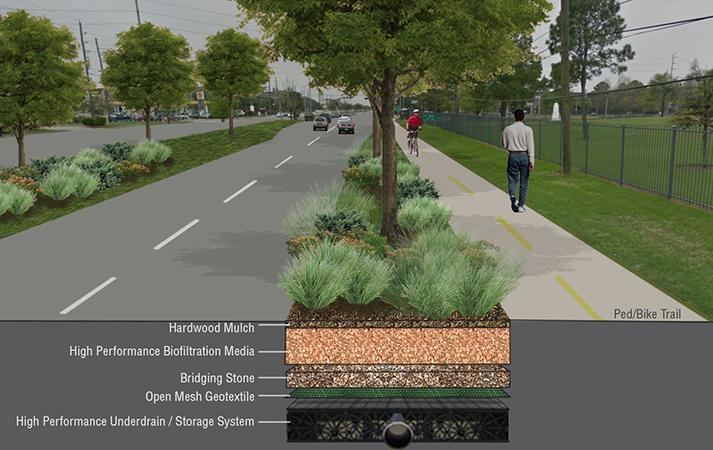 Almeda Road Reconstruction Section-Perspective