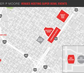 Walter P Moore venues hosting Super Bowl LI events