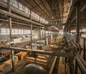 Warehouse filled with recycled materials from construction sites
