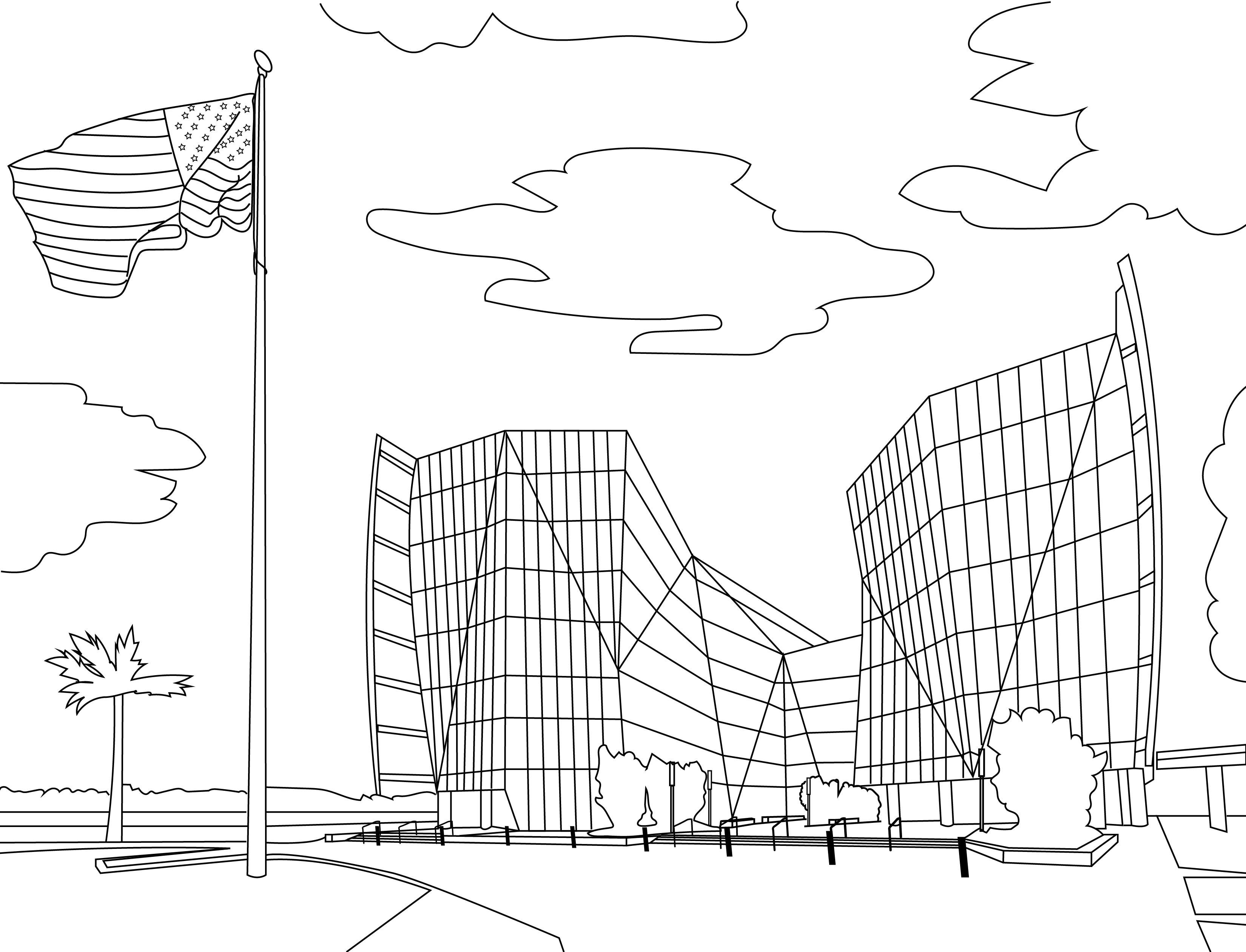 Dove Federal Building Coloring Page