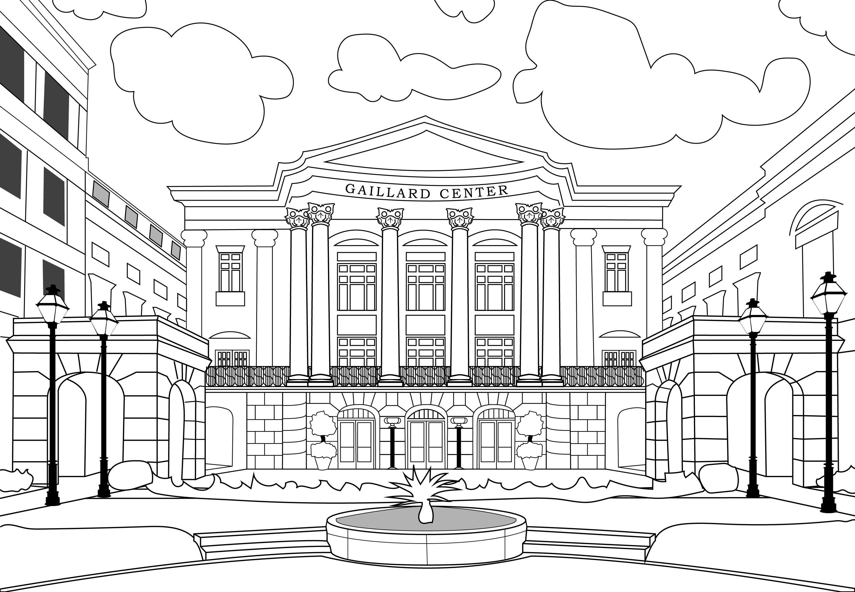 Gaillard Center Coloring Page