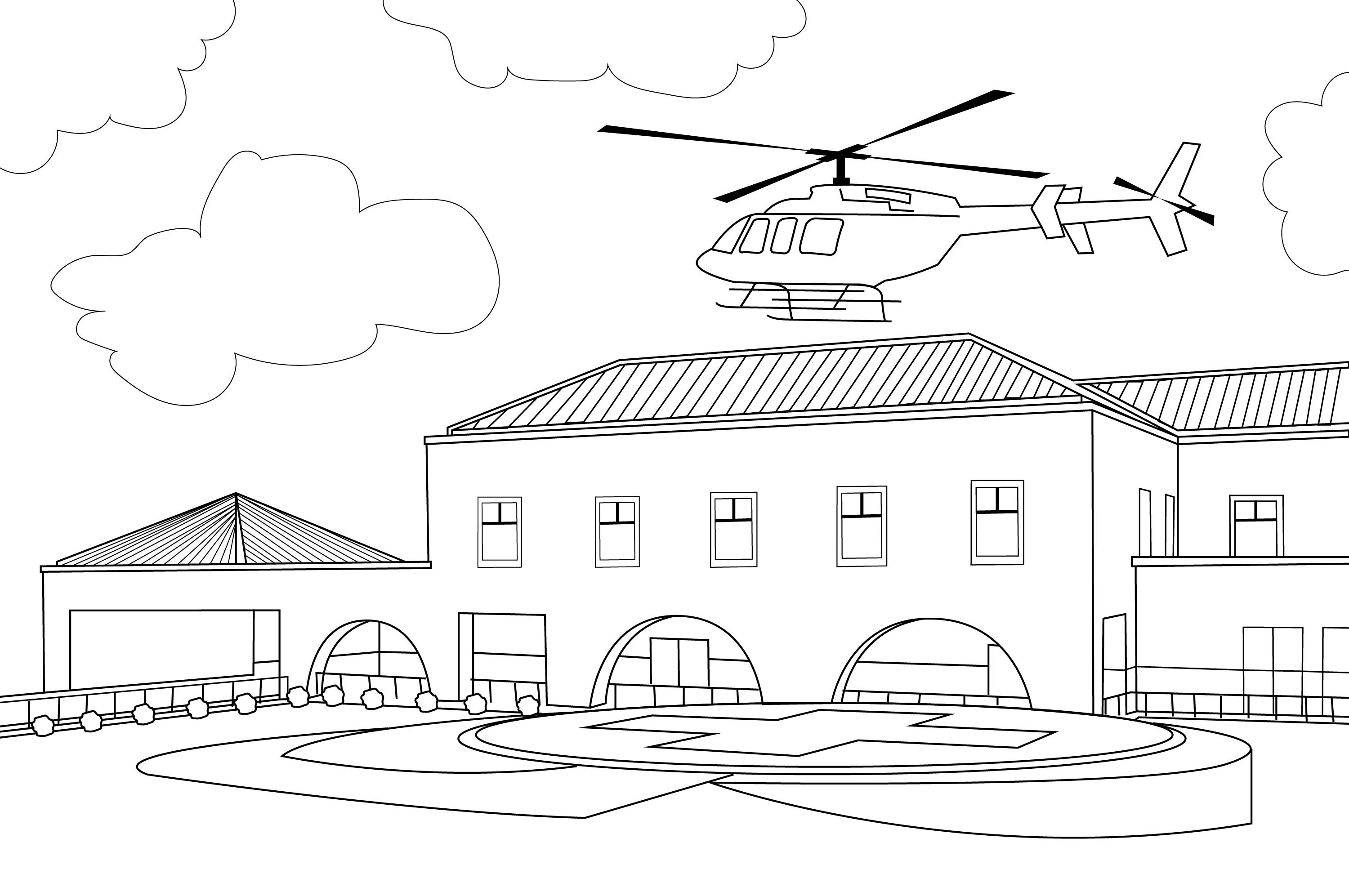 Valley Children's Healthcare Helipad Coloring Page
