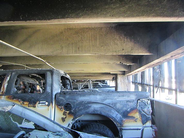 University of Houston Garage fire - damaged vehicles